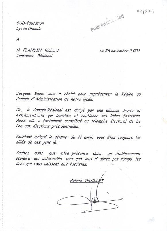 lettre de demission d un mandat syndical Justice pour Roland Veuillet   Les documents à caractère syndical  lettre de demission d un mandat syndical